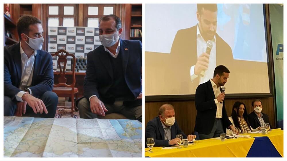 Em Santa Catarina, Eduardo Leite faz parceria com Moisés e ouve conselho de Merisio